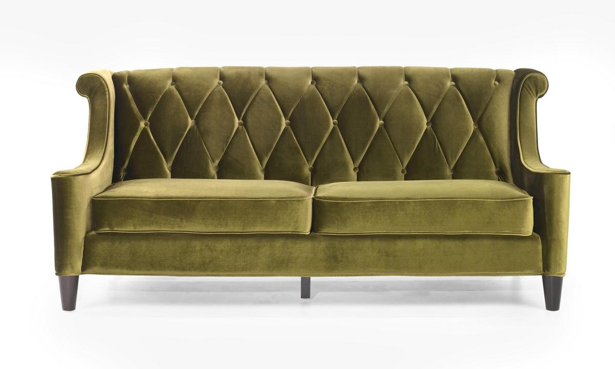 Armen Living Barrister Sofa Green Velvet