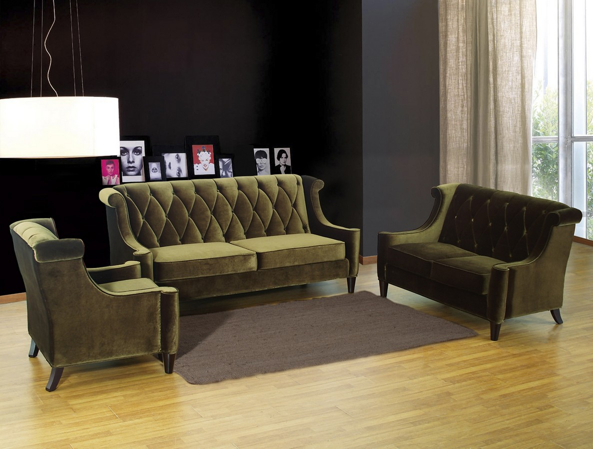 Armen Living Barrister Loveseat Green Velvet