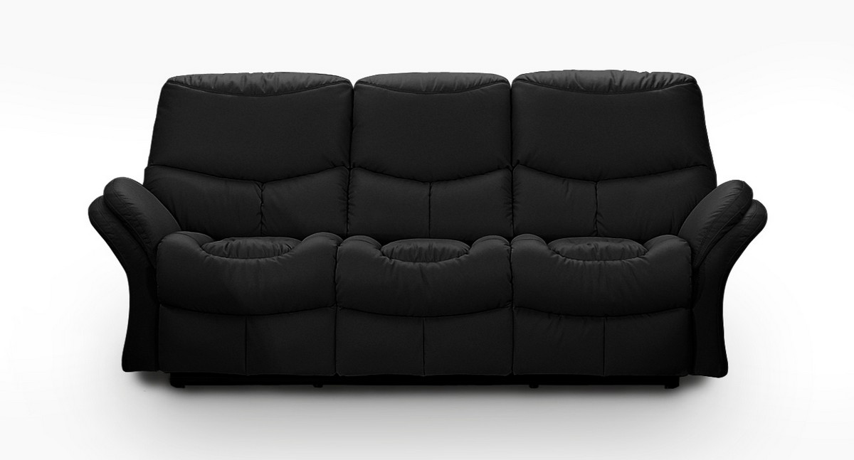 Idaho Recliner Sofa Black Leathermatch - Armen Living