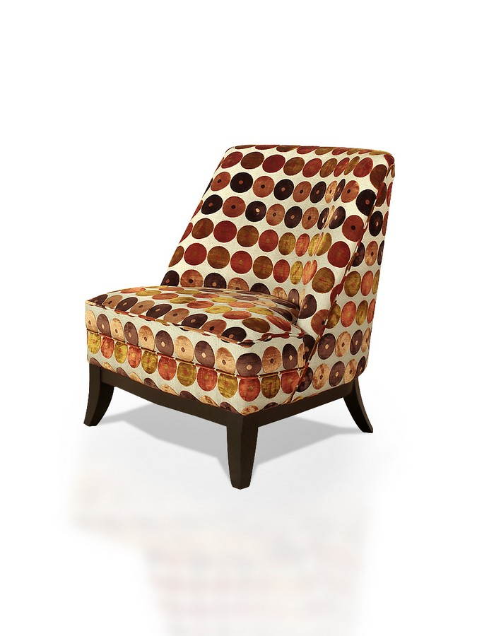 Armen Living Jester Club Chair In Brilliant Orange And Red Circles