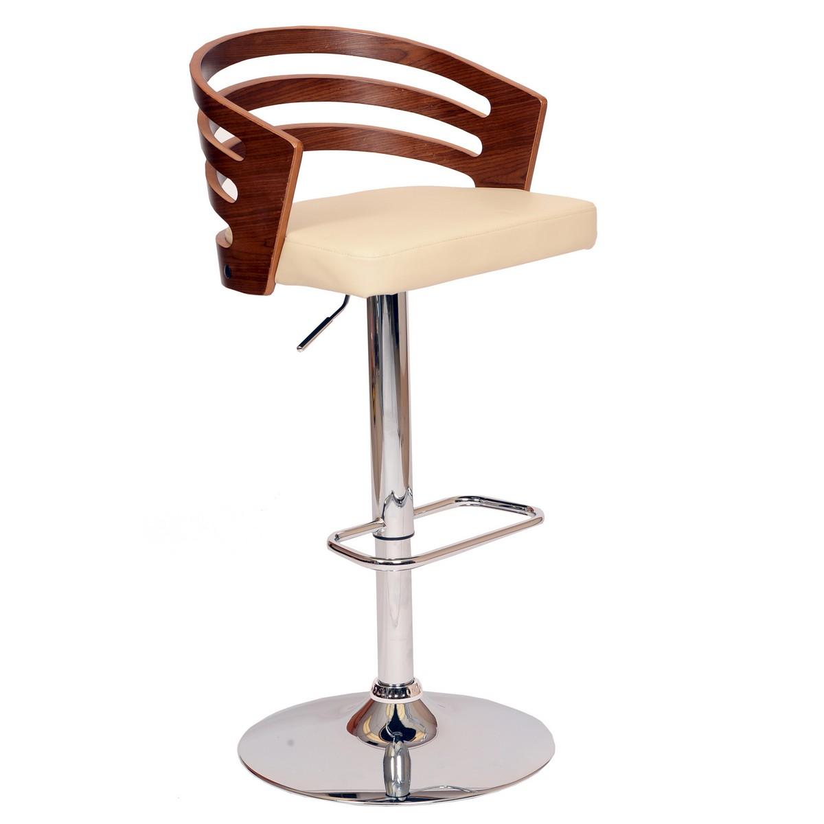 Armen Living Adele Swivel Barstool In Cream Leatherette/ Walnut Veneer and Chrome Base