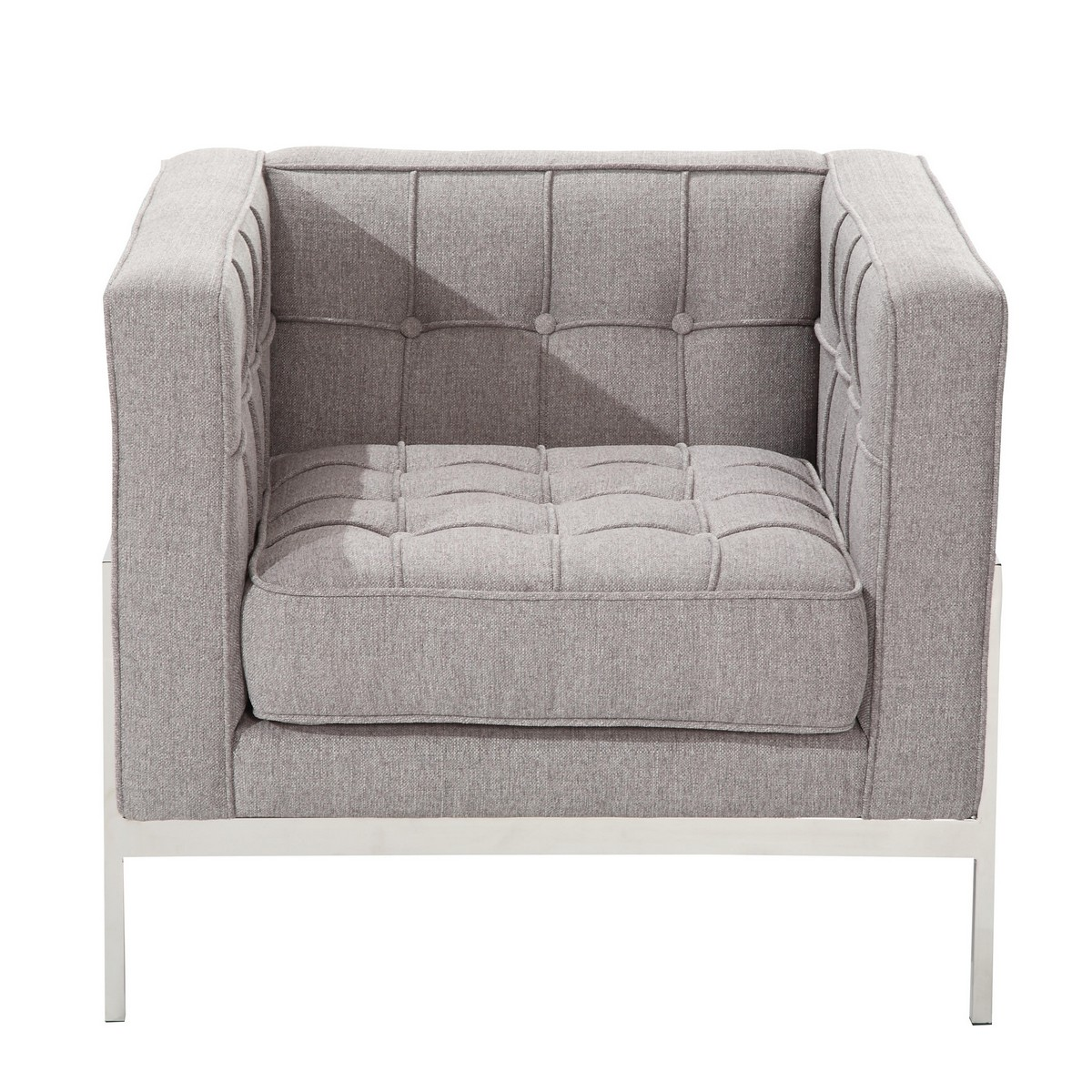 Armen Living Andre Contemporary Chair In Gray Tweed and Stainless Steel