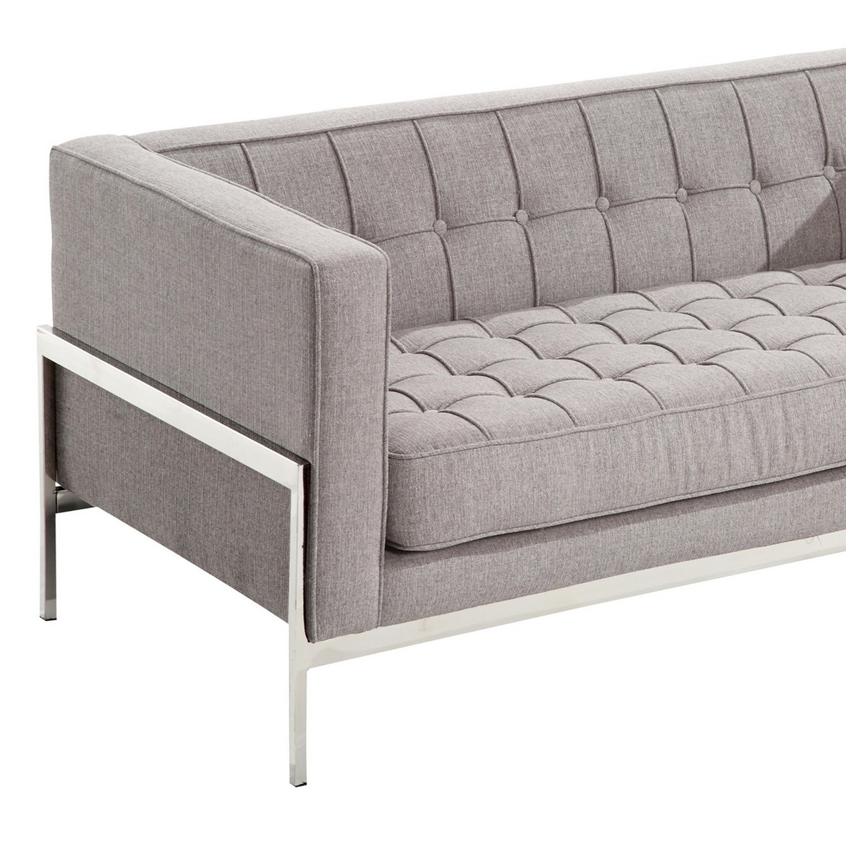 Armen Living Andre Contemporary Loveseat In Gray Tweed and Stainless Steel