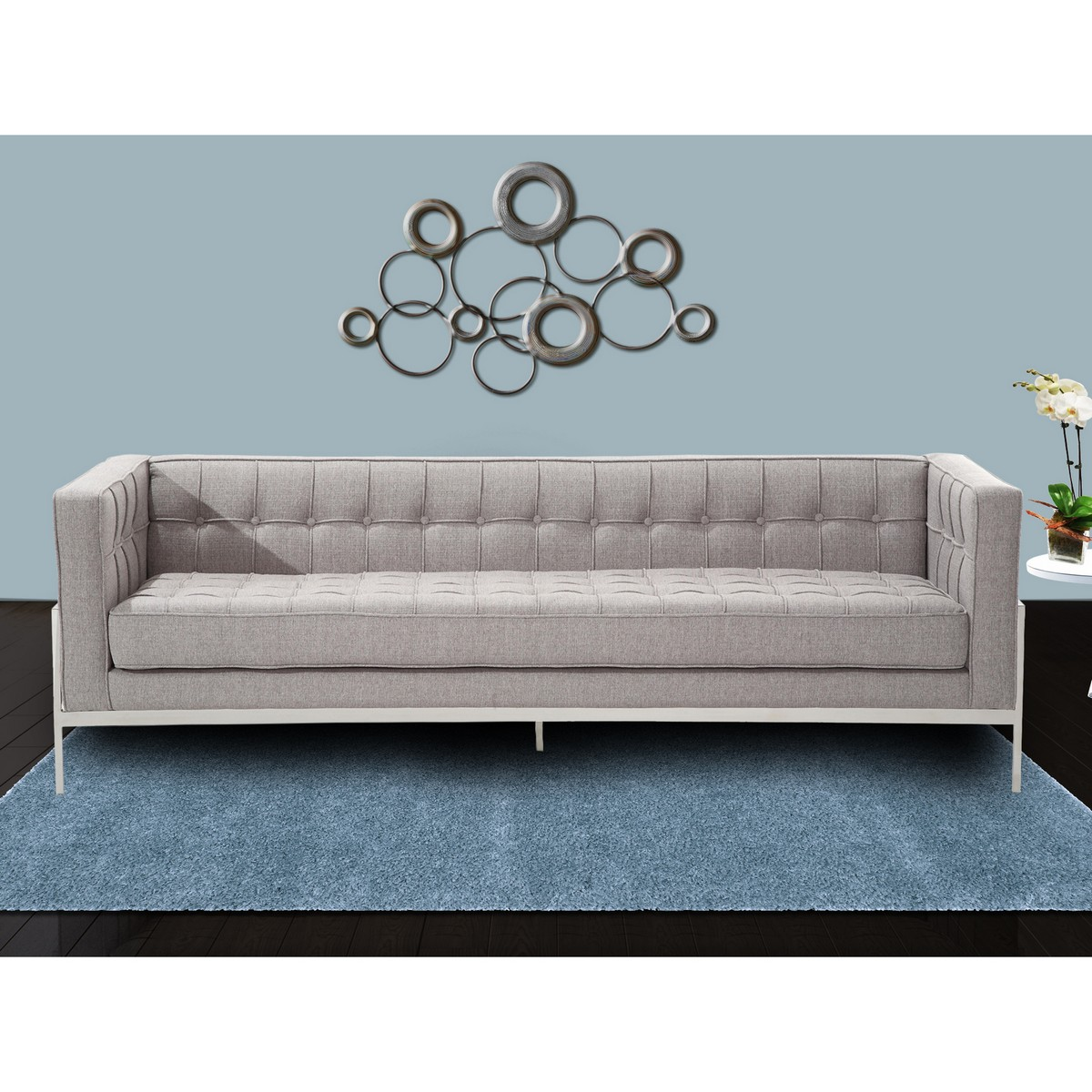 Armen Living Andre Contemporary Sofa In Gray Tweed and Stainless Steel