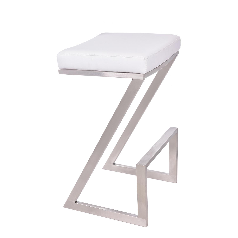 Surprising Armen Living Atlantis 30 Inch Backless Bar Stool White Leatherette Andrewgaddart Wooden Chair Designs For Living Room Andrewgaddartcom