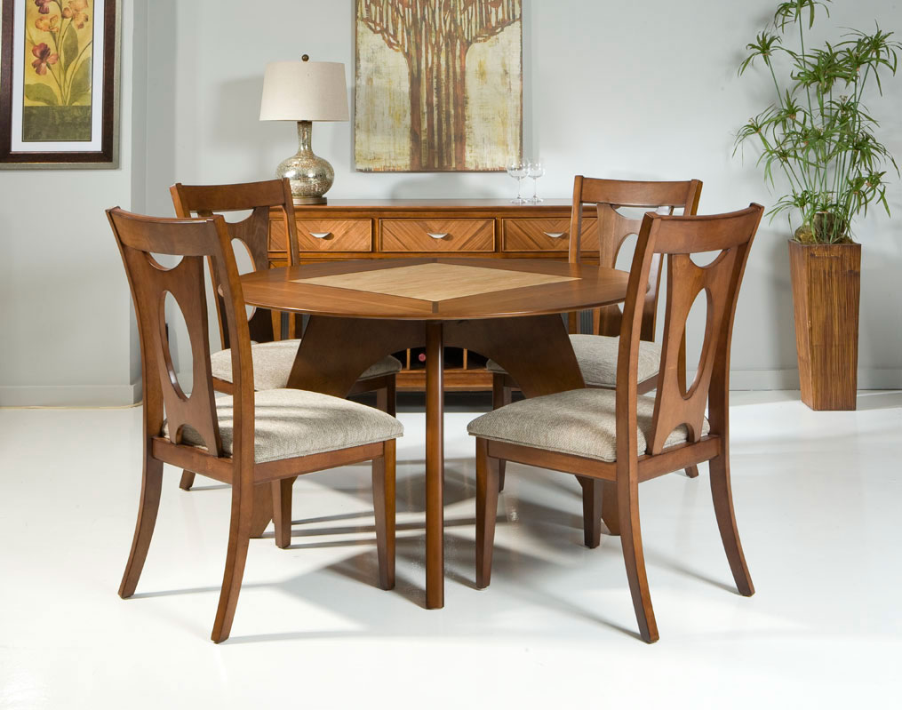 Armen Living Avalon Dining Table Set - Walnut