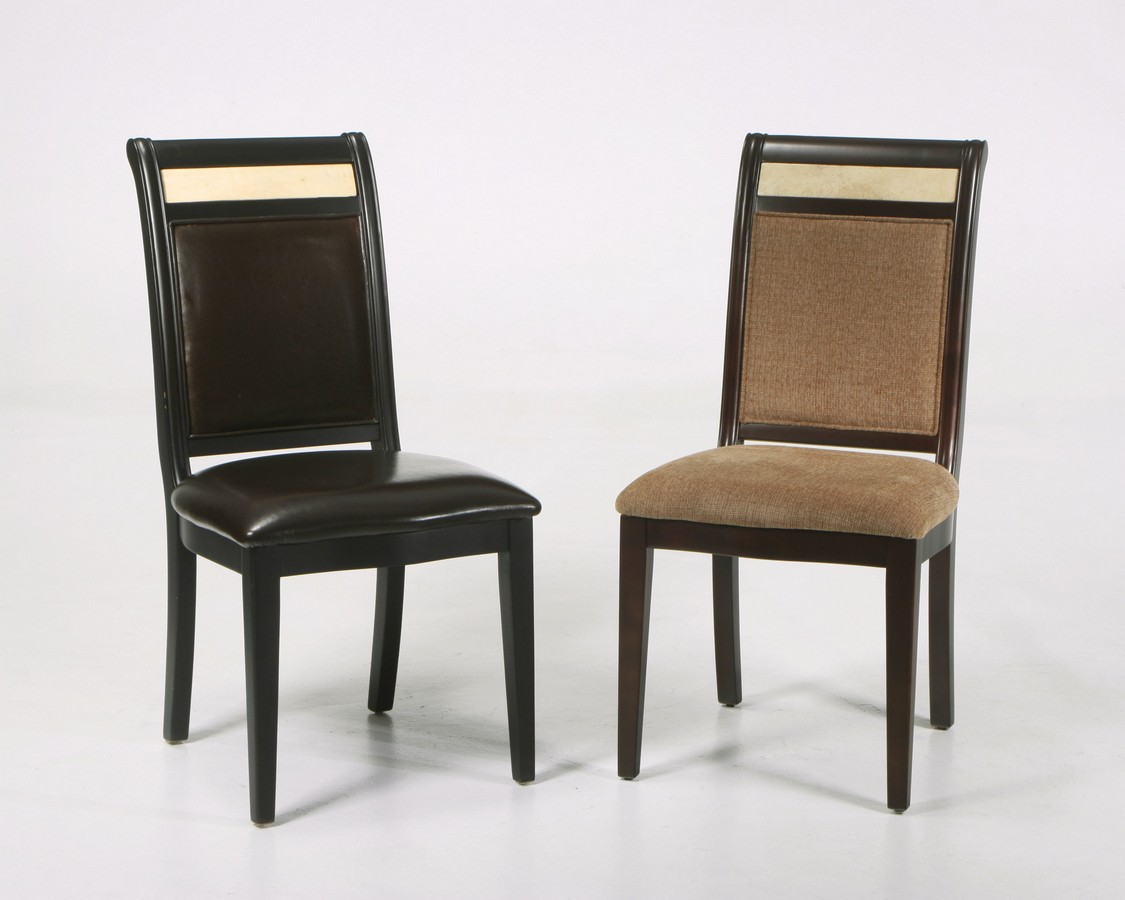 Armen Living Brown Leather Side Chair - Marble Inlay