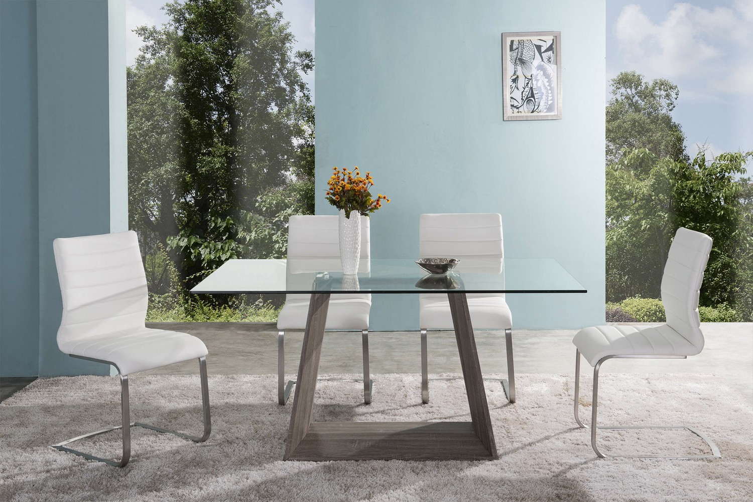Armen Living Bravo Contemporary Dining Table In Dark Sonoma Base With Clear Glass