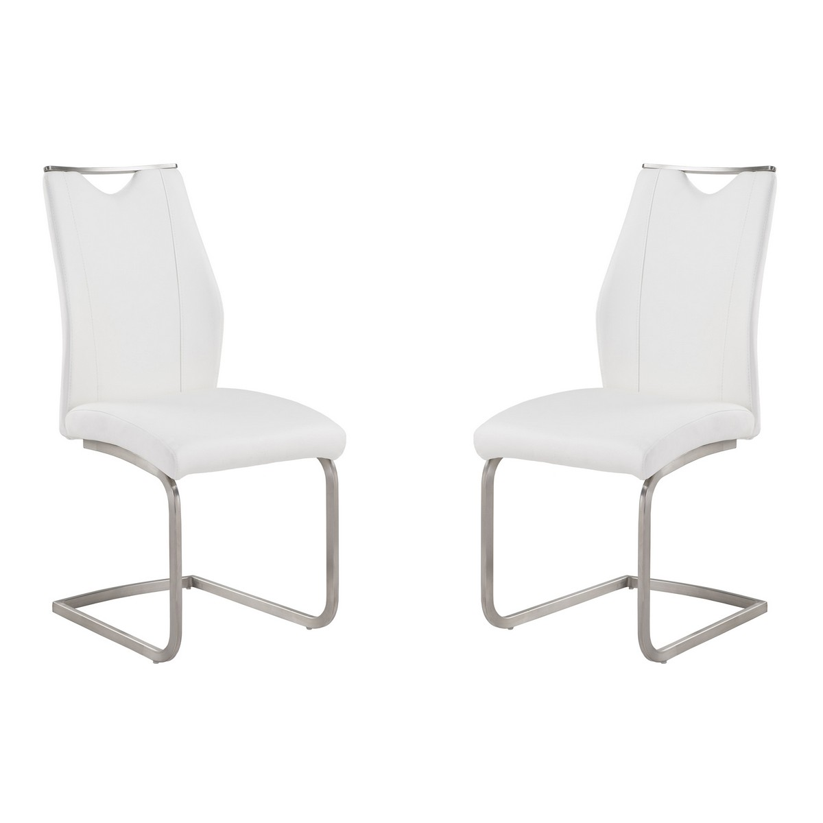 Armen Living Bravo Contemporary Side Chair In White and Stainless Steel