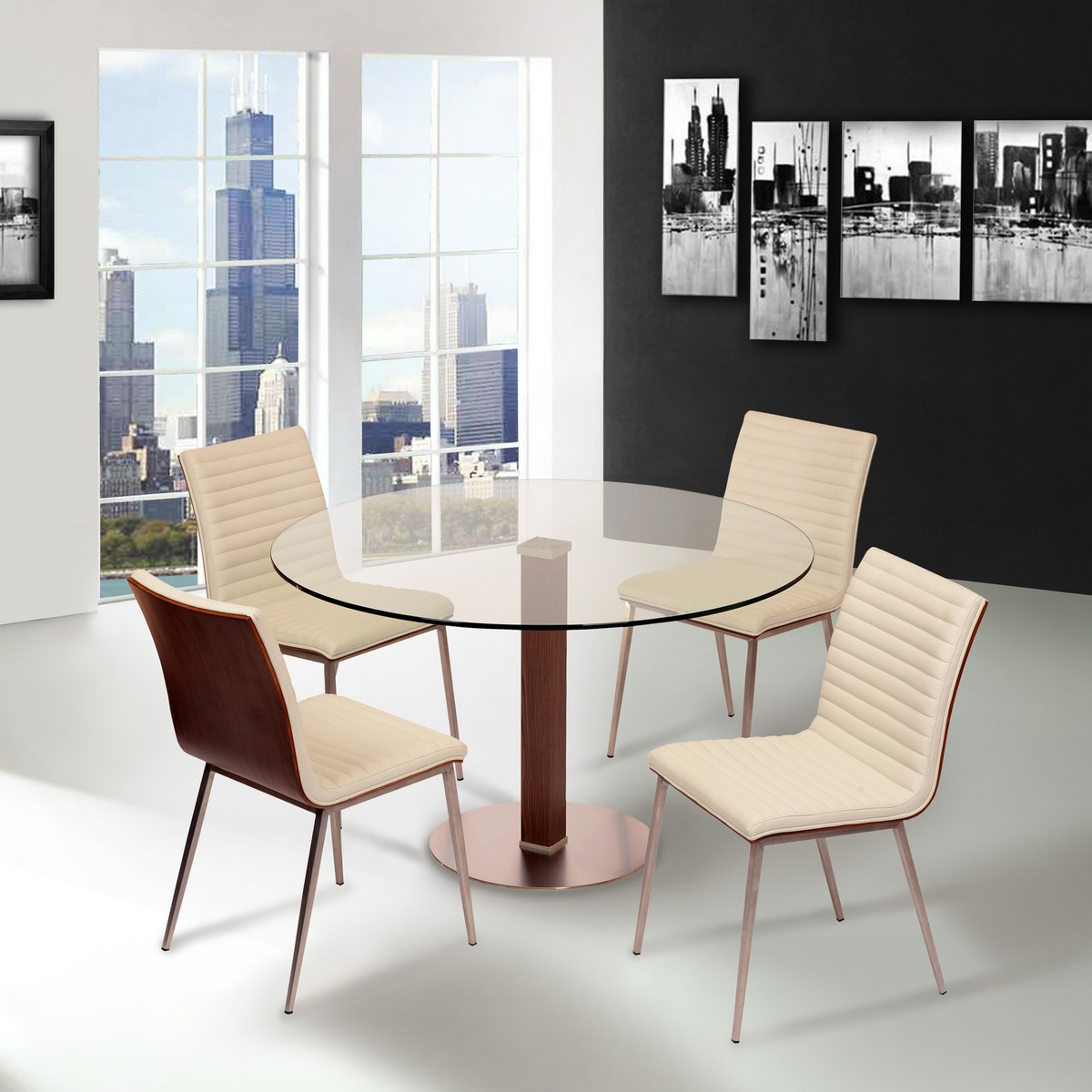 Armen Living Cafe Brushed Stainless Steel Dining Chair in White Leatherette with Walnut Back