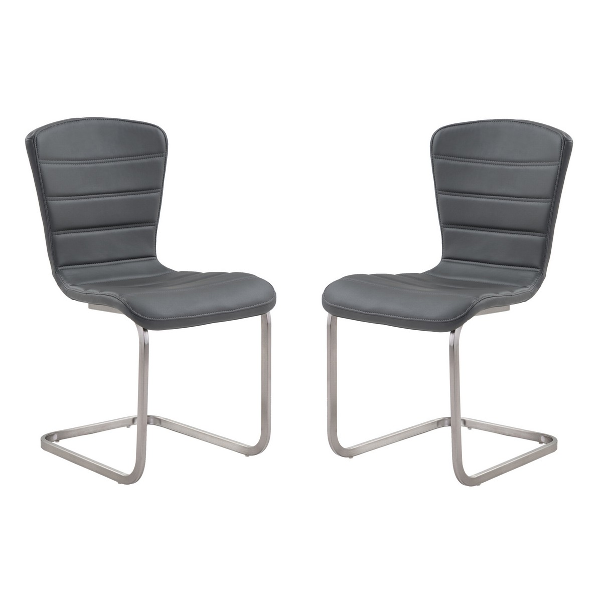 Armen Living Cameo Modern Side Chair In Gray and Stainless Steel