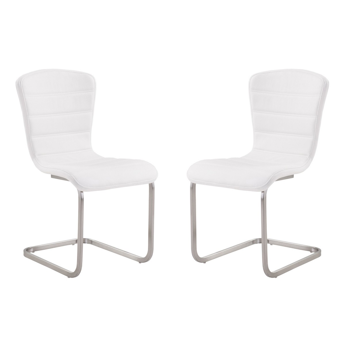 Armen Living Cameo Modern Side Chair In White and Stainless Steel