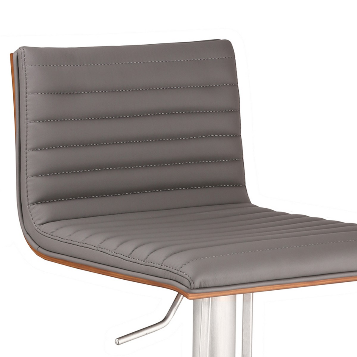 Armen Living Cafe Adjustable Brushed Stainless Steel Barstool in Gray Leatherette with Walnut Back