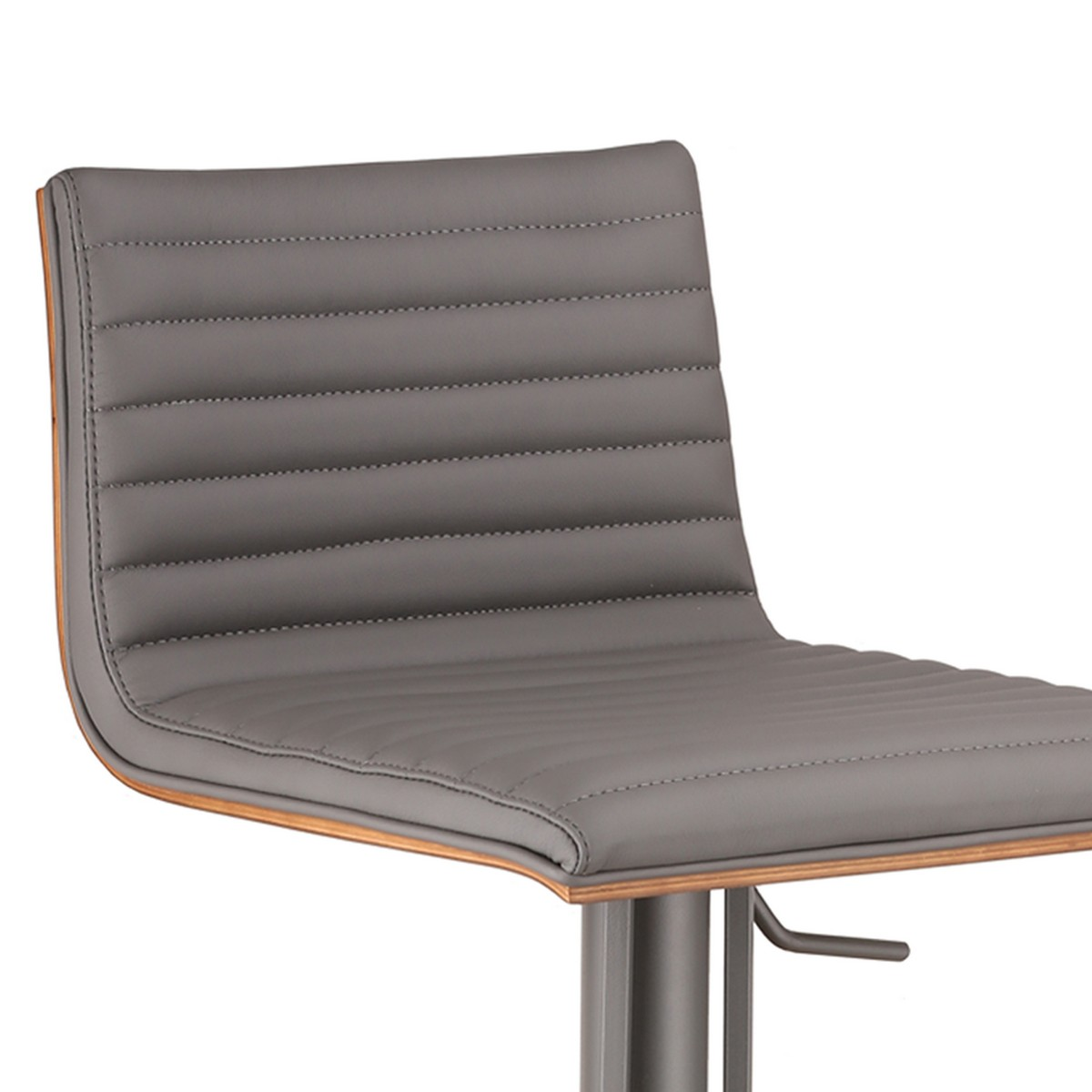 Armen Living Cafe Adjustable Gray Metal Barstool in Gray Leatherette with Walnut Back