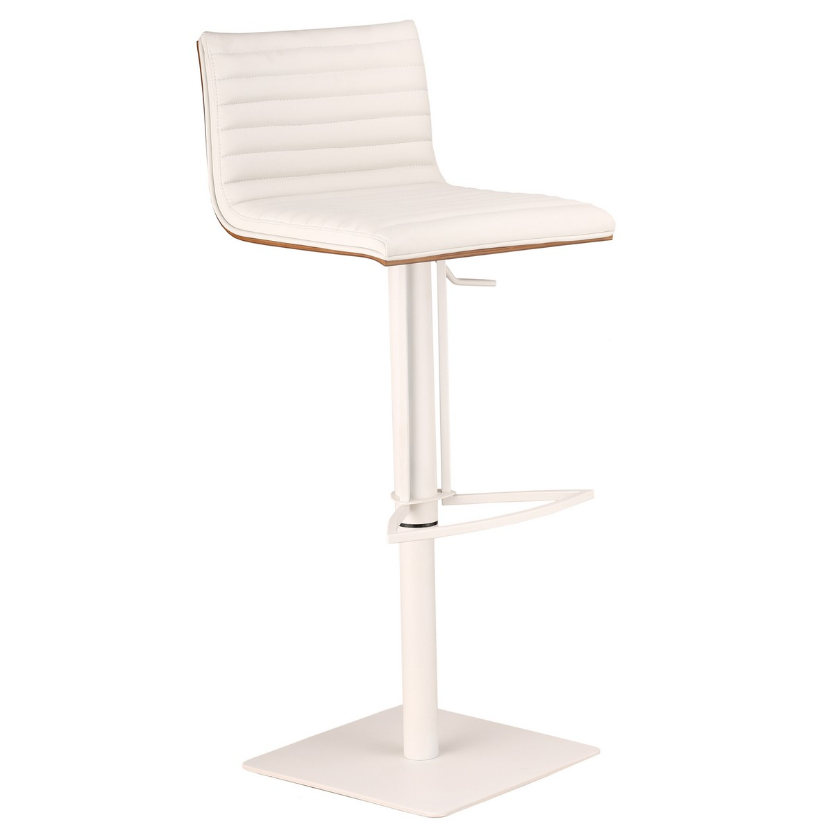 Armen Living Cafe Adjustable White Metal Barstool in White Leatherette with Walnut Back