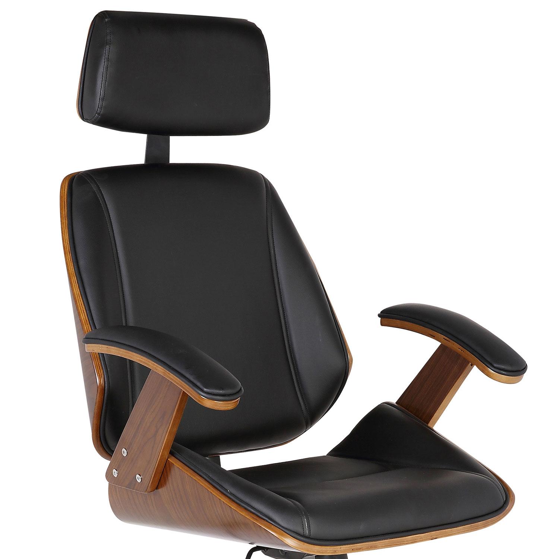 Armen Living Century Office Chair - Black Leatherette/Walnut Veneer Back
