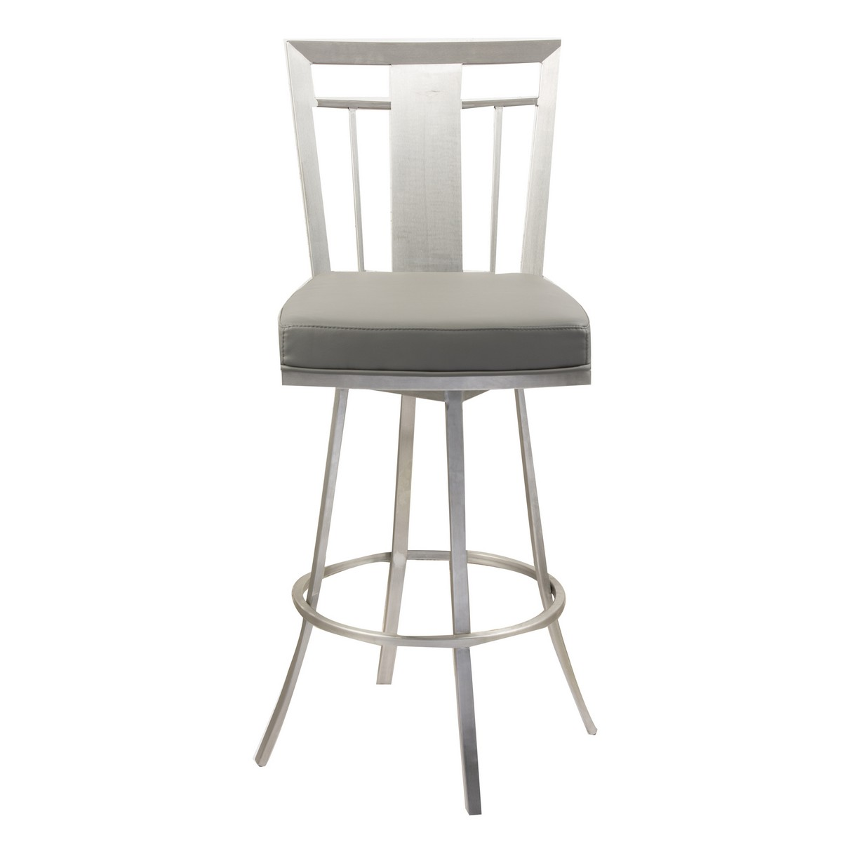 Armen Living Cleo 26-inch Modern Swivel Barstool In Gray and Stainless Steel