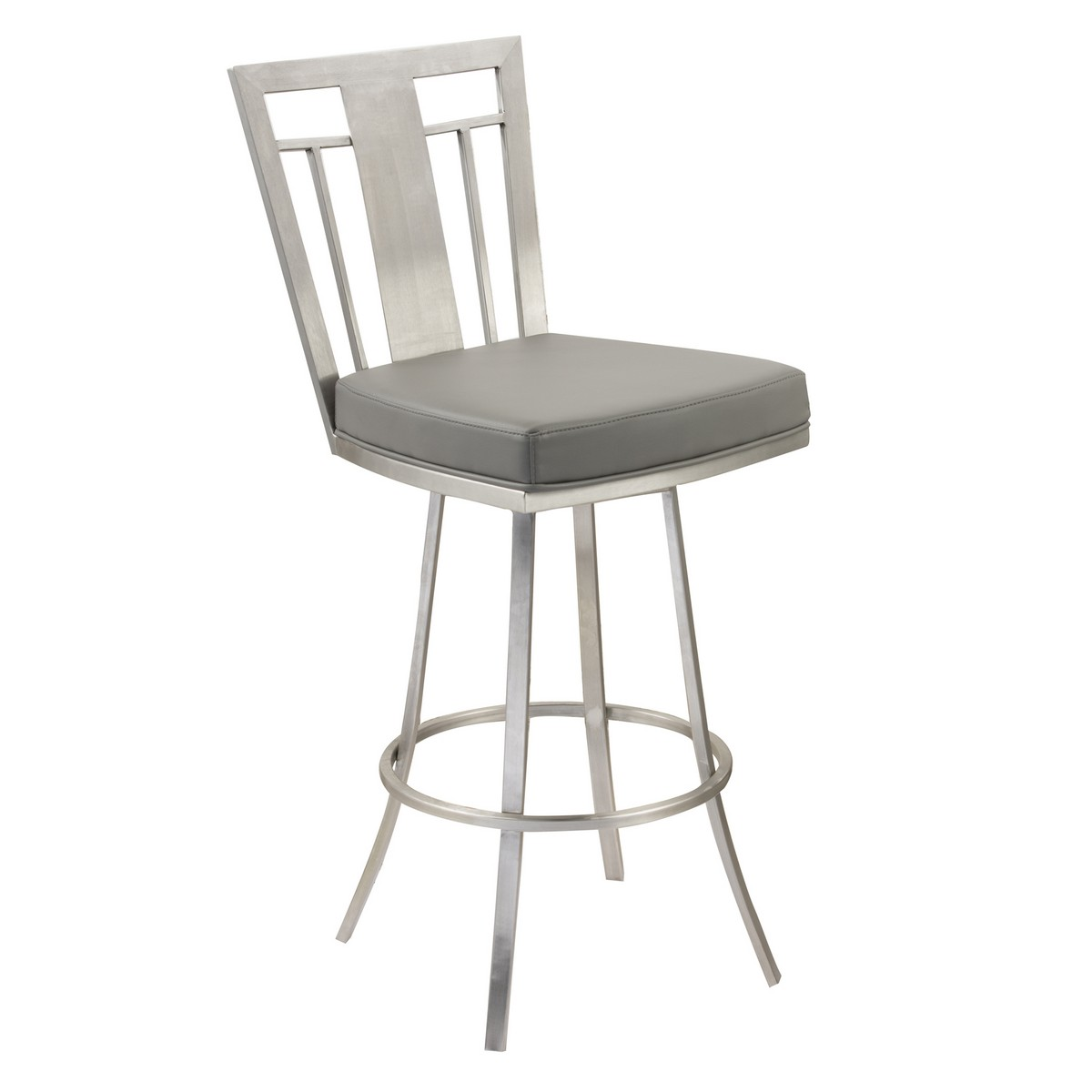 Armen Living Cleo 26-inch Modern Swivel Barstool In Gray and Stainless Steel