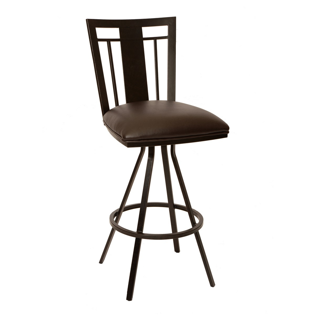 Armen Living Cleo 30-inch Transitional Barstool In Coffee and Auburn Bay Metal