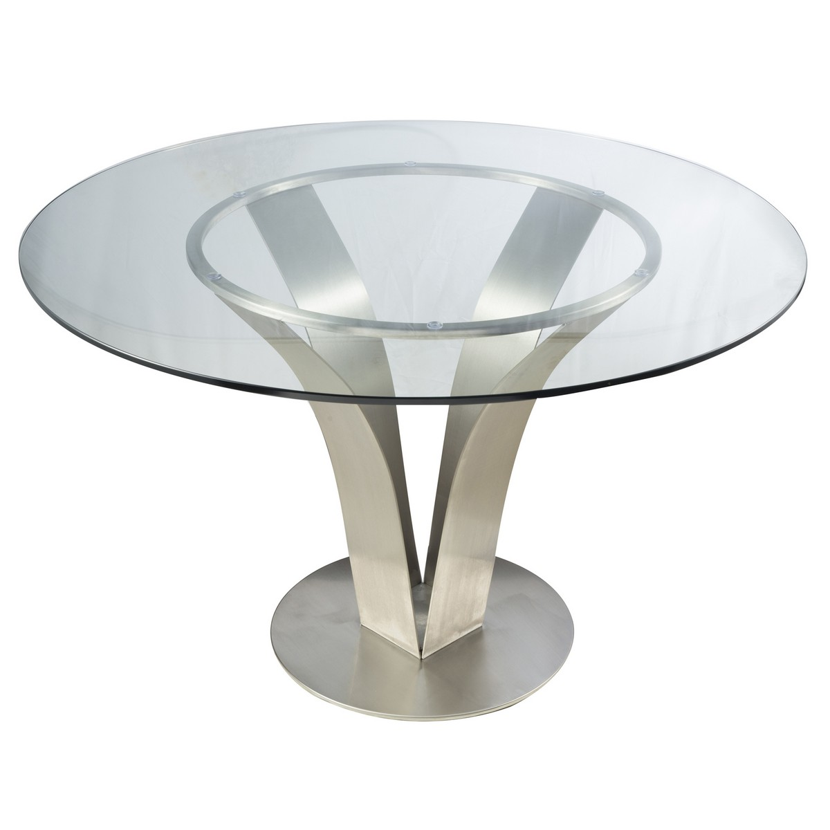 Armen Living Cleo Contemporary Dining Table In Stainless Steel With Clear  Glass