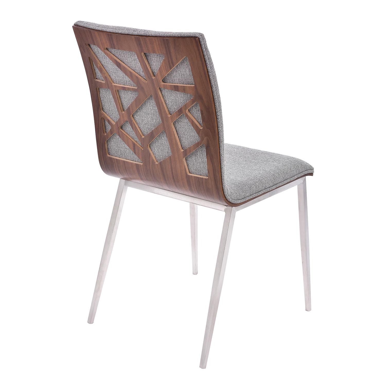 Armen Living Crystal Dining Chair - Grey Fabric/Walnut Back