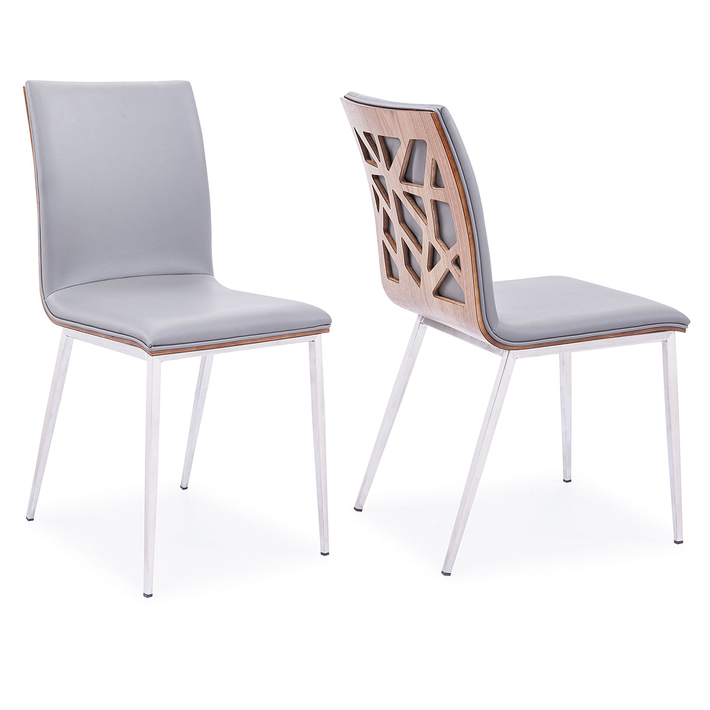 Armen Living Crystal Dining Chair - Grey Leatherette/Walnut Back