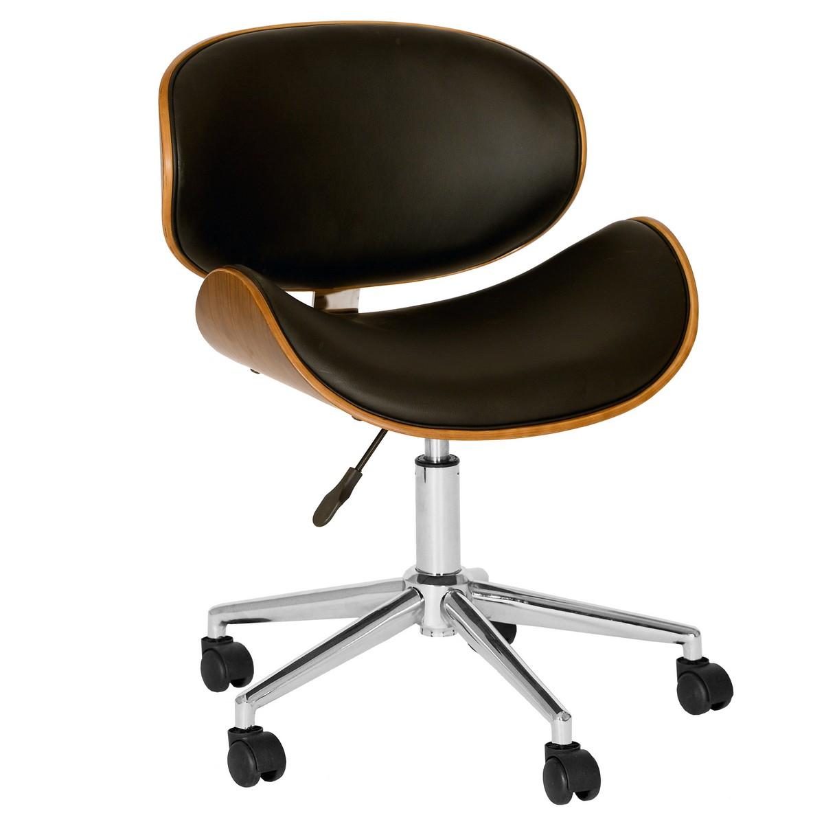 Armen Living Daphne Modern Chair In Black And Walnut Veneer Back and Chrome