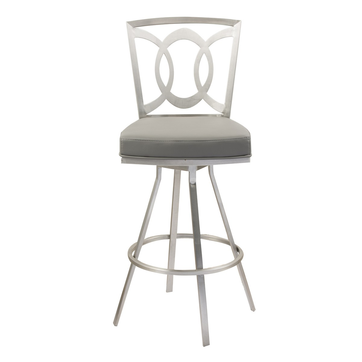 Armen Living Drake 26-inch Contemporary Swivel Barstool In Gray and Stainless Steel