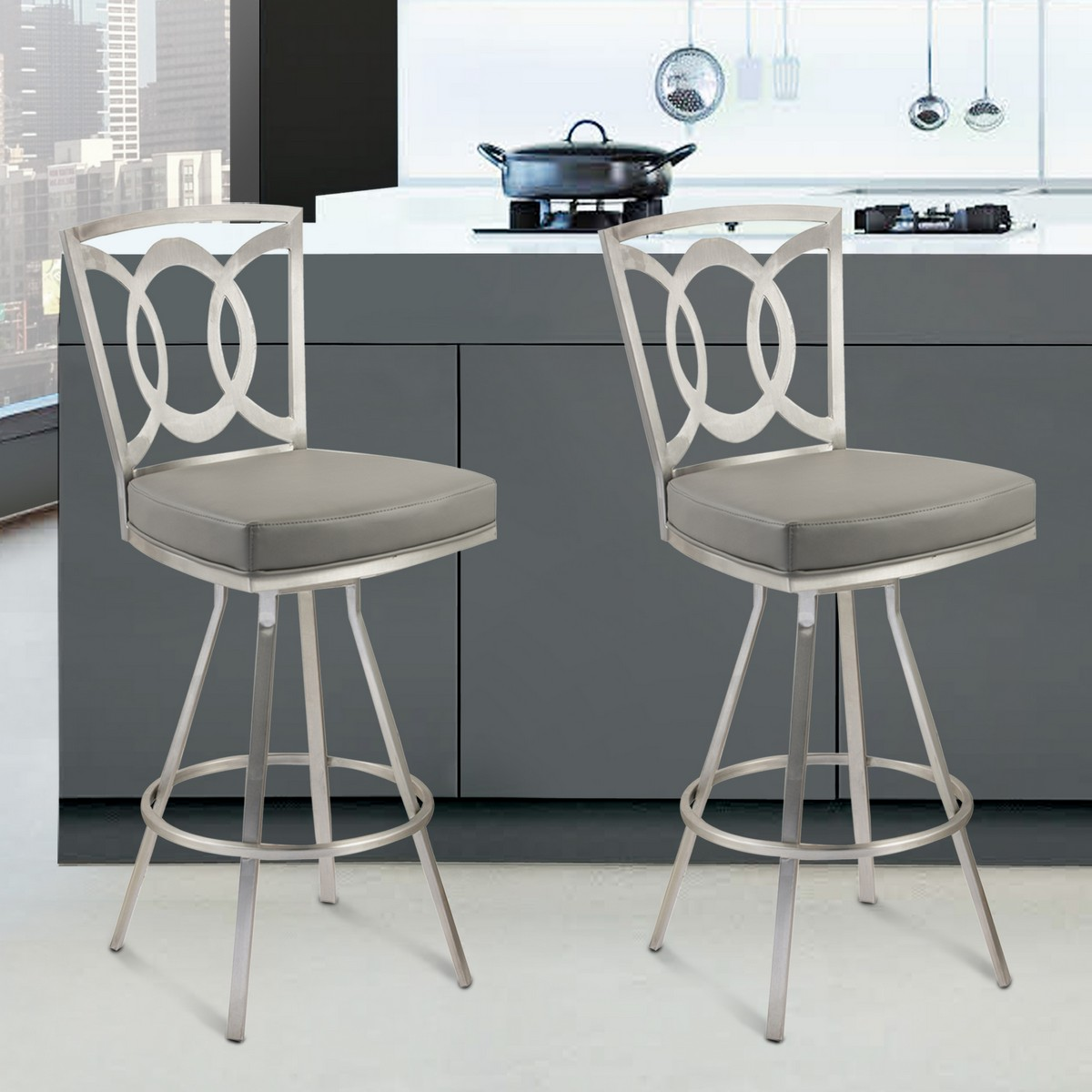 Merveilleux Armen Living Drake 30 Inch Contemporary Swivel Barstool In Gray And  Stainless Steel