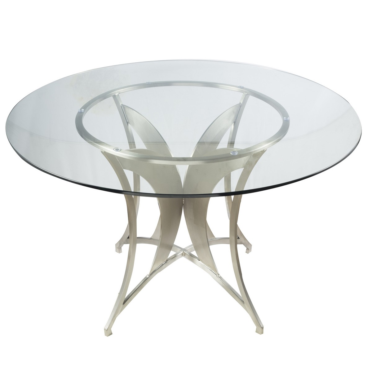 Armen Living Drake Modern Dining Table In Stainless Steel With Clear Glass