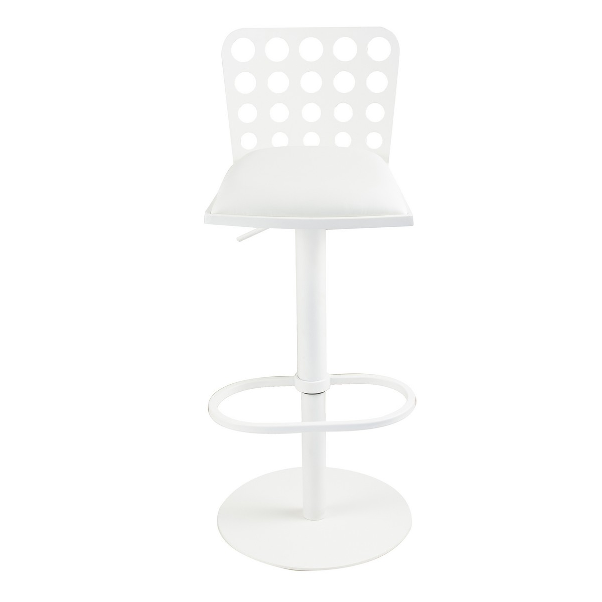 Armen Living Dune Contemporary Barstool In White and White Metal