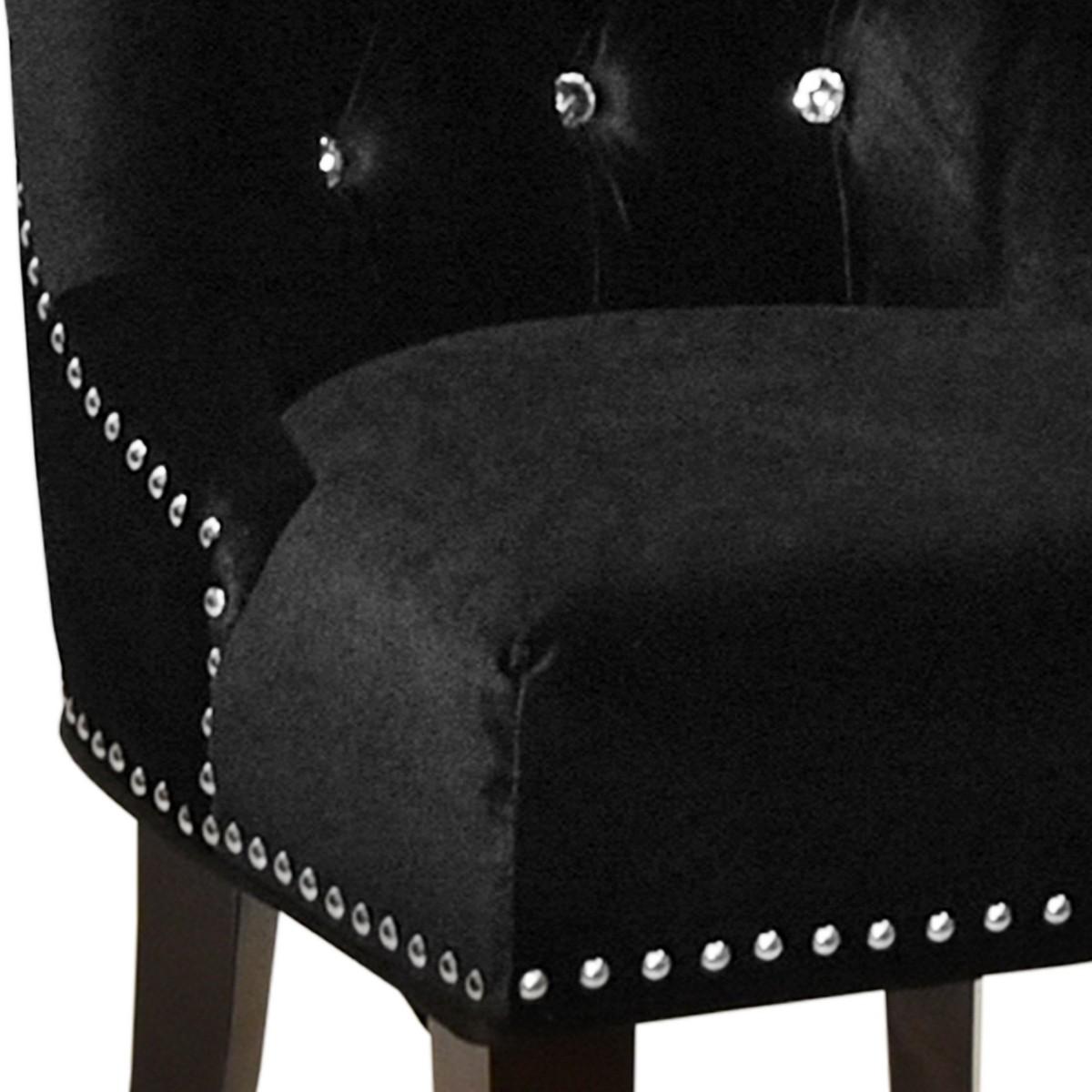 Armen Living Carlyle Side Chair in Black Velvet