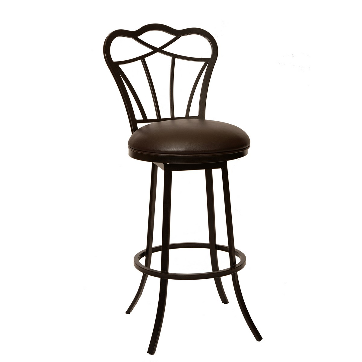 Armen Living Galvin 26-inch Transitional Barstool In Coffee and Auburn Bay Metal