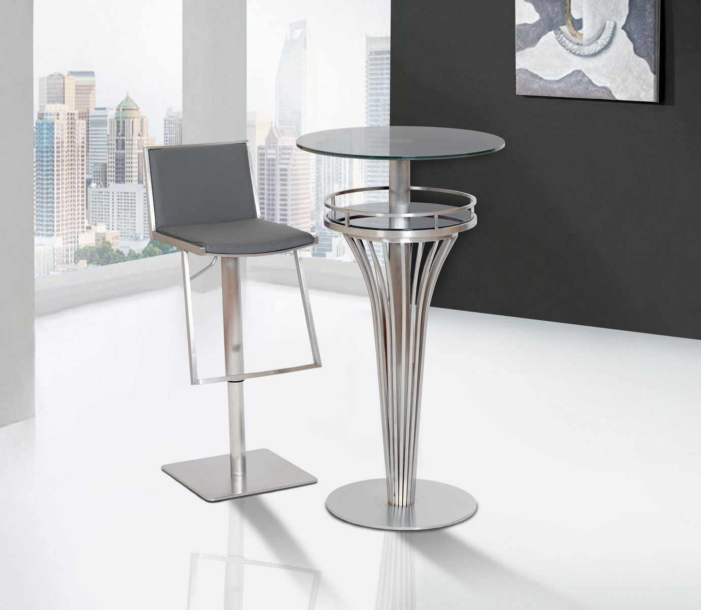 Armen Living Ibiza Adjustable Brushed Stainless Steel Barstool in Gray Leatherette