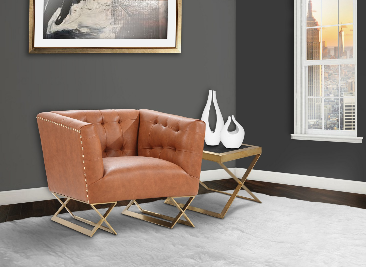 Armen Living Jasper Modern Chair In Chestnut and Gold Matte Finish