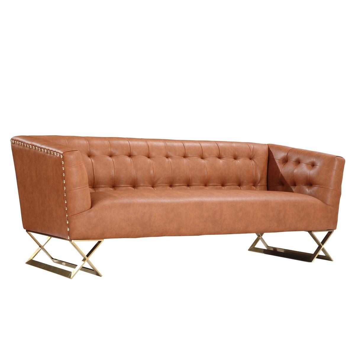 Armen living jasper modern sofa in chestnut and gold matte for Designer sofas for less