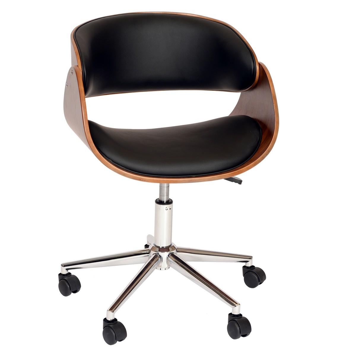 Armen Living Julian Modern Chair In Black And Walnut Veneer Back and Chrome