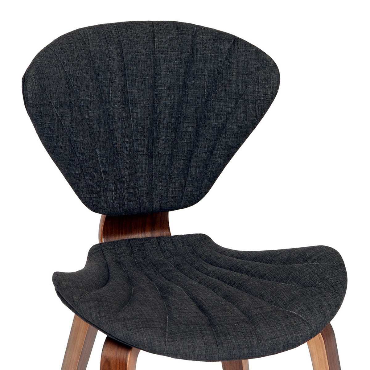 Armen Living Lisa Modern Chair In Charcoal Fabric and Walnut Wood