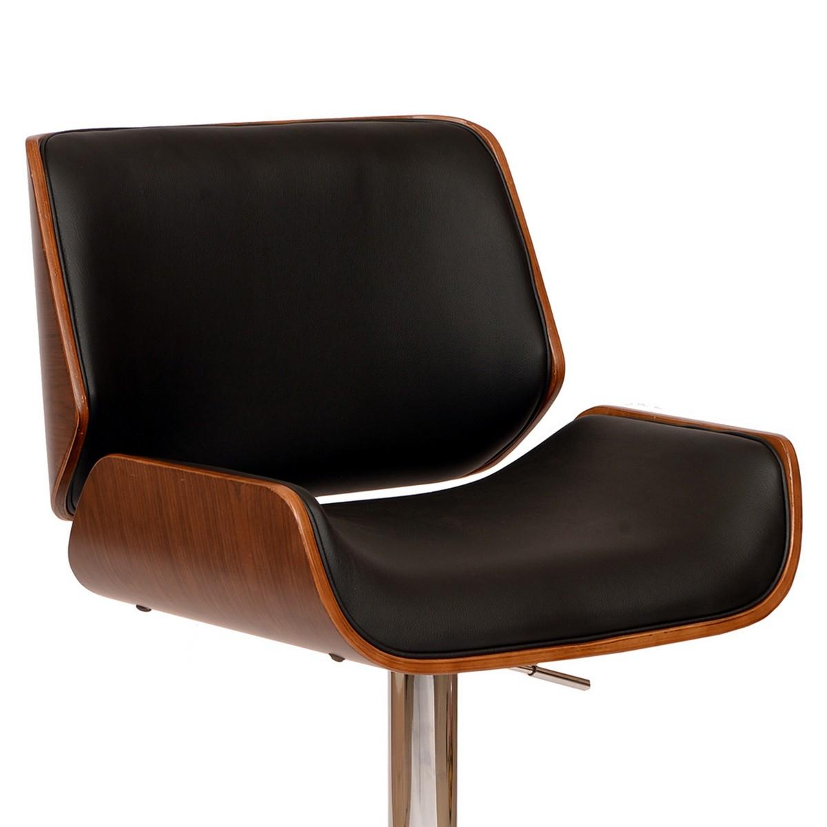 Armen Living London Swivel Barstool In Black Leatherette/ Walnut Veneer and Chrome Base