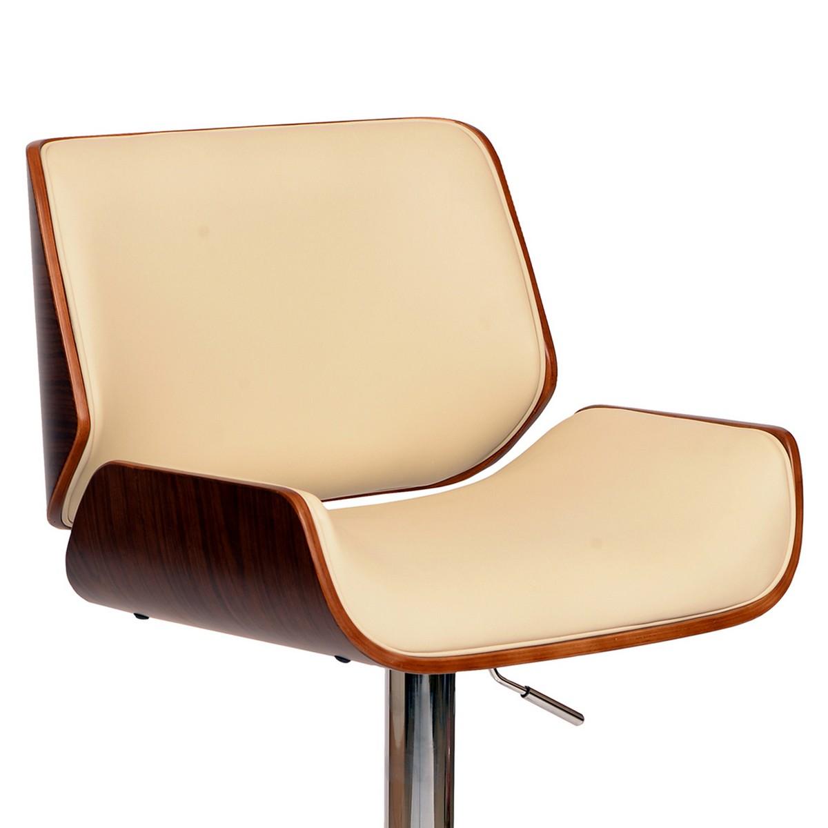 Armen Living London Swivel Barstool In Cream Leatherette/ Walnut Veneer and Chrome Base