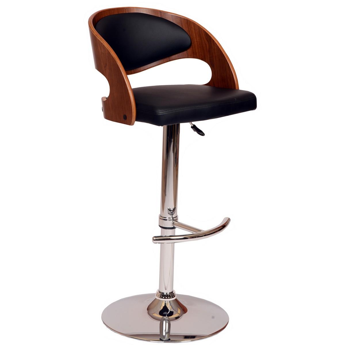 Armen Living Malibu Swivel Barstool In Black Leatherette/ Walnut Veneer and Chrome Base