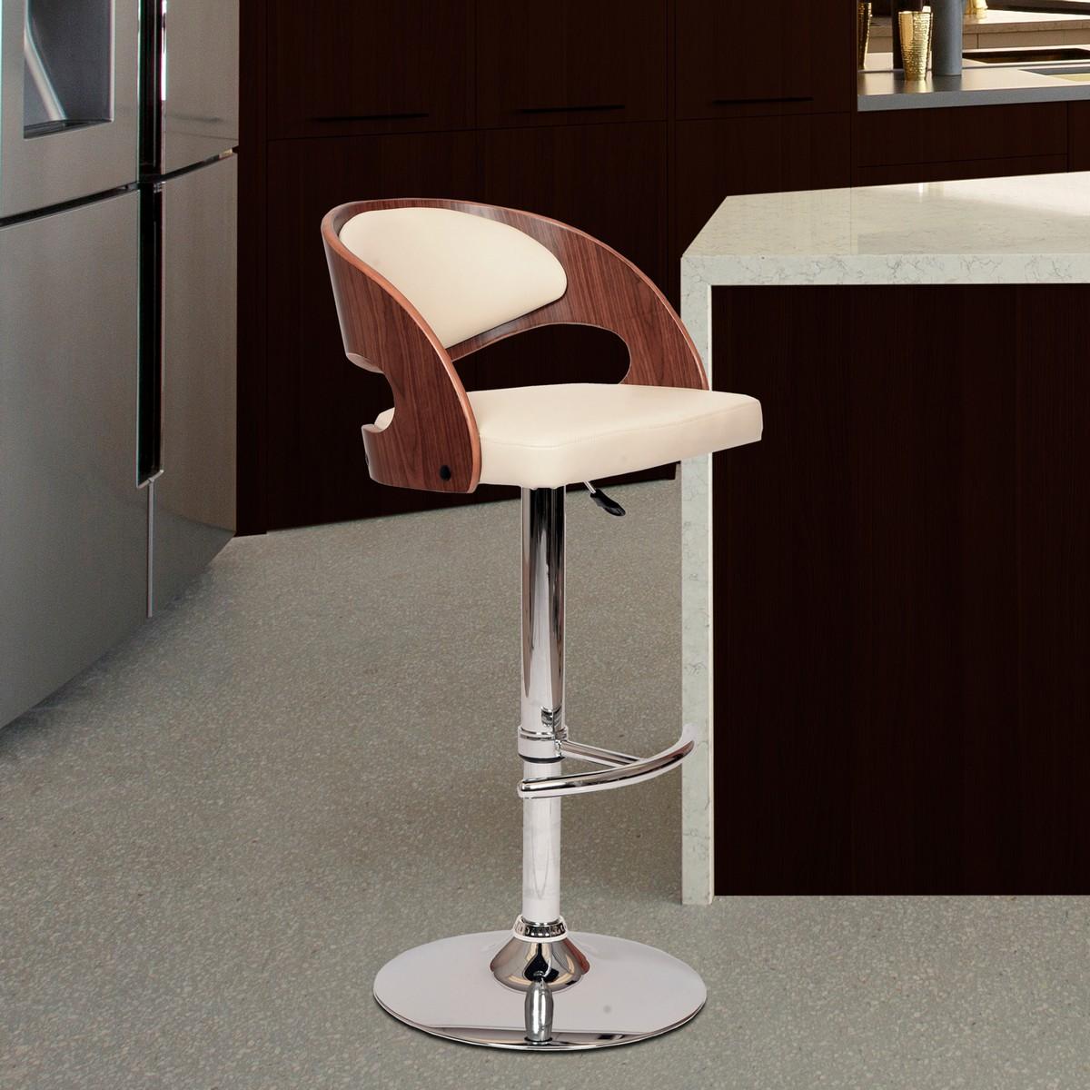 Armen Living Malibu Swivel Barstool In Cream Leatherette/ Walnut Veneer and Chrome Base