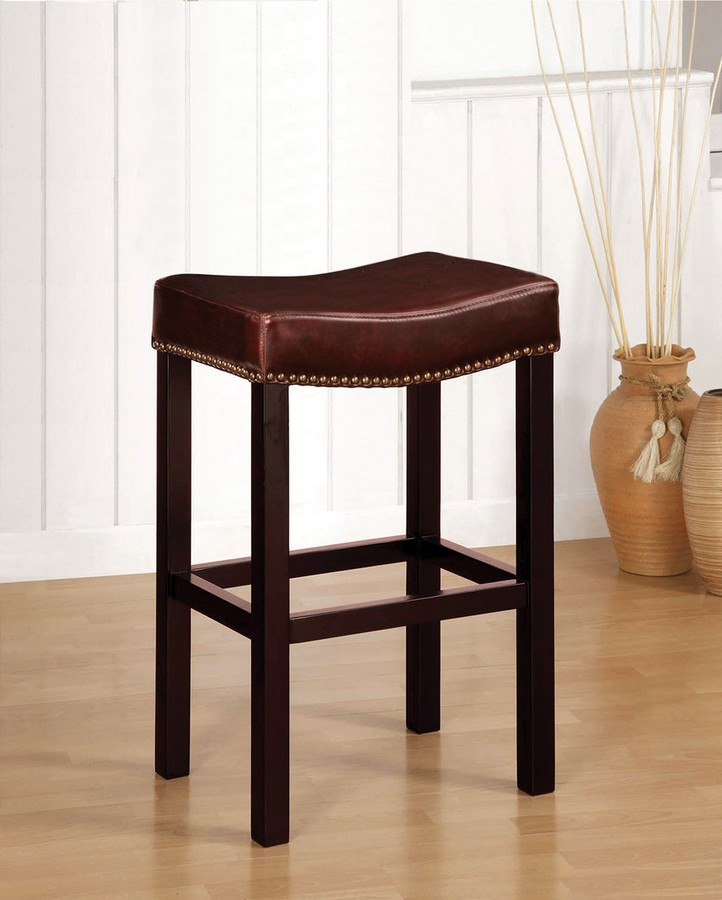 Armen Living Tudor Backless 30-inch Stationary Barstool -inch Antique Brown Leather With Nailhead Accents Mbs-013
