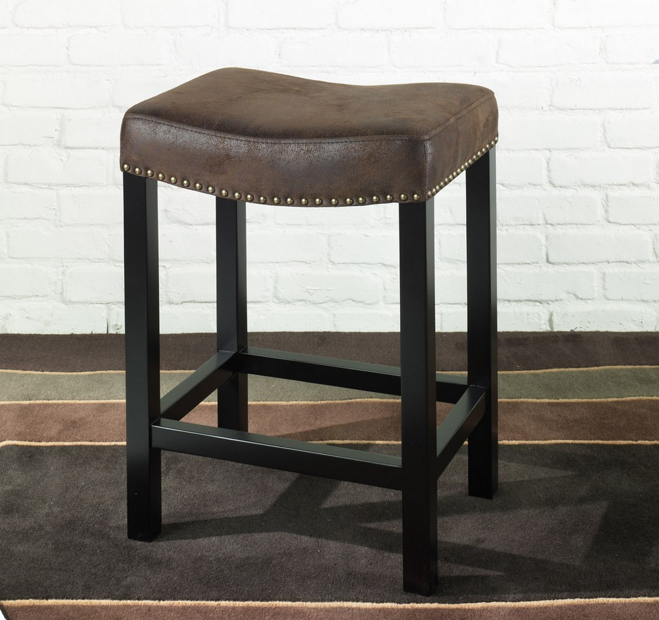 Armen Living Tudor Backless 30-inch Stationary Barstool Covered -inch A Wrangler Brown Fabric - Nailhead Accents Mbs-013