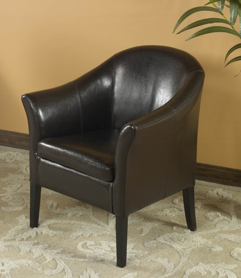 Armen Living 1404 Brown Leather Club Chair
