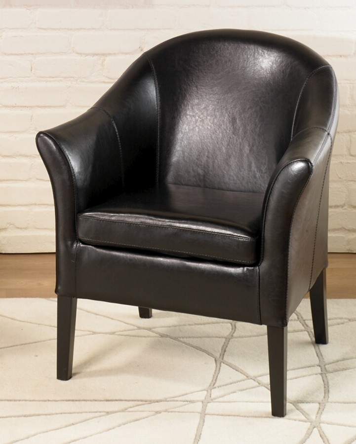 Armen Living 1404 Black Leather Club Chair