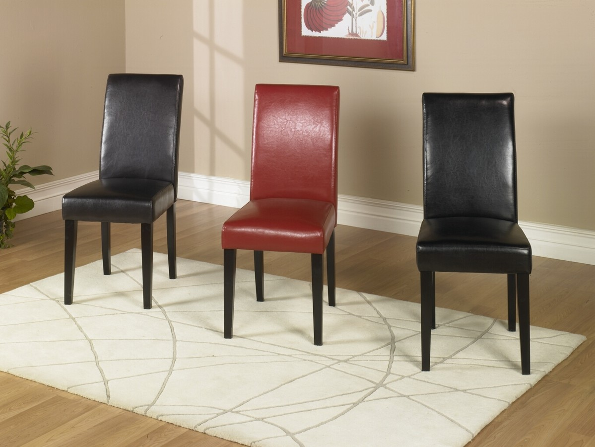 Armen Living Black Leather Side Chair Md-014