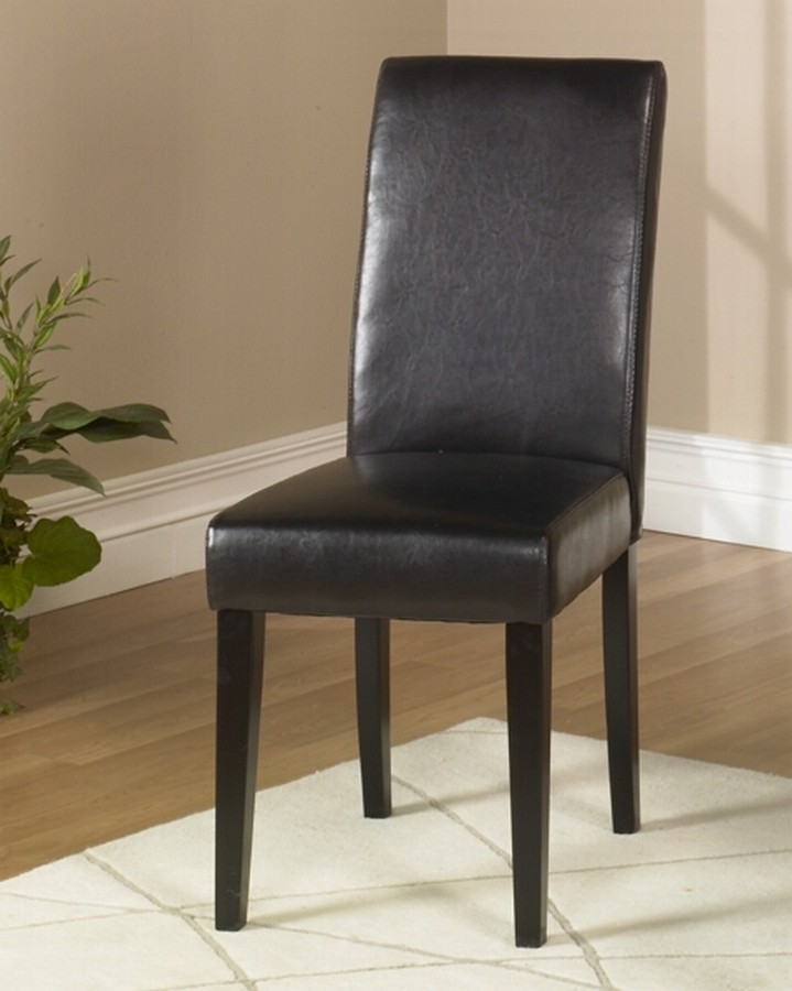 Armen Living Brown Leather Side Chair Md-014