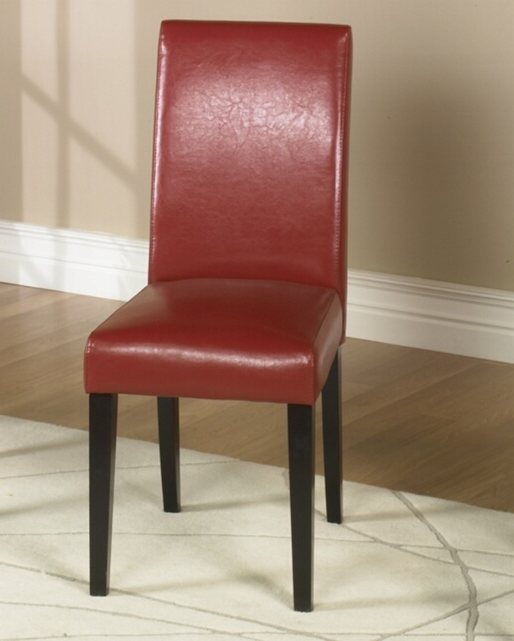 Armen Living Red Leather Side Chair Md-014