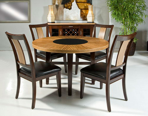 Armen Living Milano Dining Table Set - Zebrano